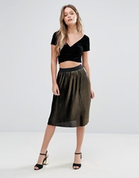 Vero Moda Metallic Pleated Midi Skirt Black And Gold Multi