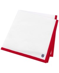 Tommy Hilfiger Men's Logo Solid Edge Pocket Square Red