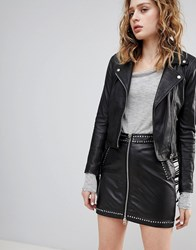 41afe31fdf57 Save. Goosecraft Festival Leather Mini Skirt With Zip And Stud Detail Black
