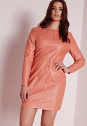 Missguided Plus Size Faux Leather Dress Pink Salmon