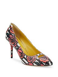 Charlotte Olympia Ada Striped Rose Print Leather Pumps Rose Multi