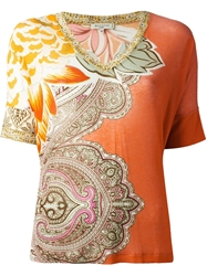 Etro V Neck Floral Pattern Sweater Yellow And Orange