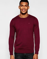 Blend Of America Blend Crew Knit Jumper Slim Fit In Burgundy Red