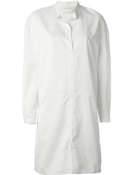 Maison Rabih Kayrouz Mandarin Collar Shirt Dress White