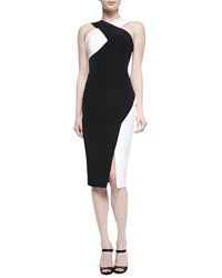 Rachel Gilbert Marique Beaded Colorblock Crisscross Dress Black Ivory Black Ivory