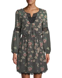 Dex Floral Print Lace Trim Peasant Dress Dark Pink