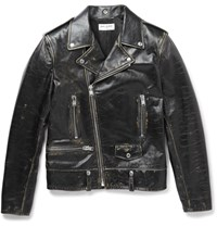 Saint Laurent Distressed Leather Biker Jacket Black
