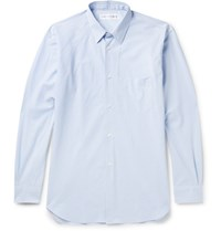 Comme Des Garcons Shirt Striped Cotton Poplin Shirt Blue