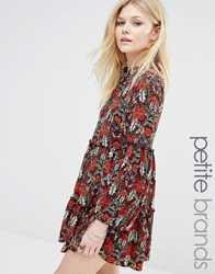 Glamorous Petite Bell Sleeve Floral Skater Dress With Keyhole Multi