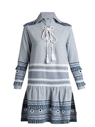 Dodo Bar Or Gadielle Tassel Embellished Cotton Dress Blue White