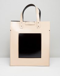 Leather Satchel Company Nude Patent Tote With Black Patent Contrast Patch Pocket Naked Taupe Black Cream