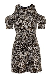 Topshop Petite Animal Frill Playsuit Multi