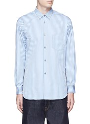 Comme Des Garcons Stripe Side Zip Cutout Shirt Blue