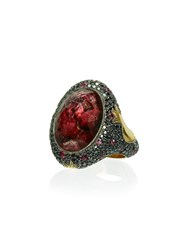 Sevan Bicakci Ruby And Diamond Ring With Butterfly Intaglio Red