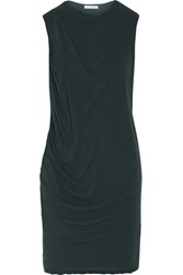 James Perse Draped Cotton Jersey Mini Dress Forest Green