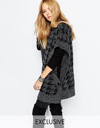 Sunshine Soul Boho Oversized Poncho Jumper With High Neck Detail Grey
