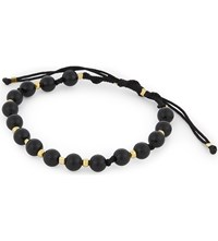 Black Dakini Beaded Agate Bracelet Blk Gold
