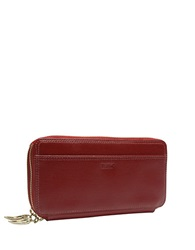 Tusk Madison Saffiano Leather Double Zip Clutch Red