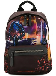 Lanvin Printed Backpack Calf Leather Polyamide Polyester Red