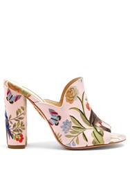 Aquazzura For De Gournay Embroidered Mules Pink Multi