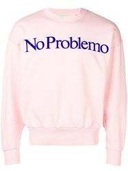 Aries No Problemo Slogan Sweatshirt Pink