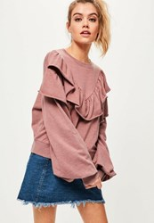 Missguided Pink Frill Front Blouson Sleeve Sweatshirt
