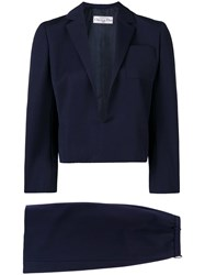 Christian Dior Vintage 1984 Straight Skirt Suit Blue