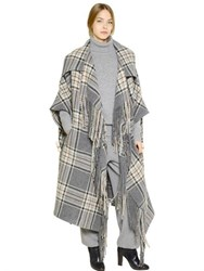 Chloe Plaid Virgin Wool Blanket Cape