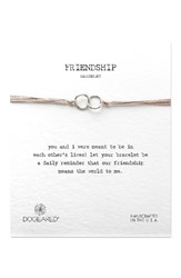 Dogeared Women's Double Linked Friendship Bracelet Taupe Silver