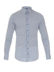 Dolce And Gabbana Sicilia Fit Checked Cotton Blend Shirt