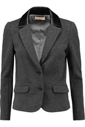Tory Burch Lovanni Faux Leather Trimmed Wool Blend Blazer Dark Gray