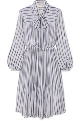 Michael Michael Kors Carolina Striped Gauze Midi Dress Blue