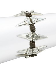 Uno De 50 Braided Scattered Spike Bracelet Silver