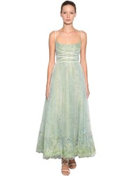 Luisa Beccaria Embroidered Tulle Dress Green Blue