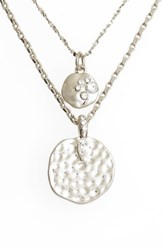 Treasure And Bond Multistrand Hammered Disc Pendant Necklace Clear Rhodium