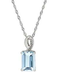 Macy's Aquamarine 9 10 Ct. T.W. And Diamond Accent Pendant Necklace In 14K White Gold Blue