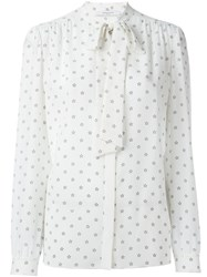 Givenchy Star Print Pussy Bow Blouse White