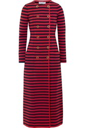 Sonia Rykiel Striped Knitted Double Breasted Coat Red
