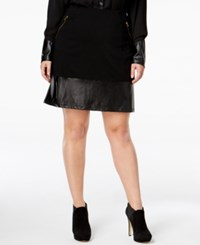 Poetic Justice Trendy Plus Size Faux Leather Trim Skirt Black
