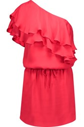 Haute Hippie One Shoulder Ruffled Silk Mini Dress Red