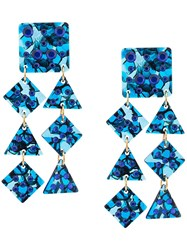 Lele Sadoughi Embellished Shell Earrings Blue