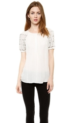 L'agence Beaded Short Sleeve Blouse Ivory Nickel