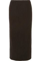 Allude Ribbed Cashmere Midi Skirt Brown