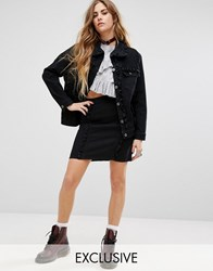 Reclaimed Vintage Denim Mini Skirt With Frill Detail Co Ord Black