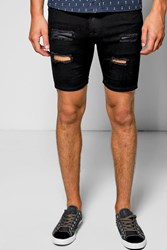 Boohoo Fit Distressed Denim Shorts Black