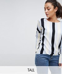 Noisy May Tall Stripe Blouse With Frill Detail Multi