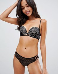New Look Geo Lace Strapping Push Up Balcony Bra Black
