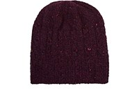 Inis Meain Men's Cable Knit Wool Cashmere Beanie Red