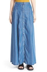 Women's Enza Costa Side Slit Chambray Maxi Skirt