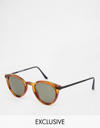 Reclaimed Vintage Porto Round Sunglasses Brown